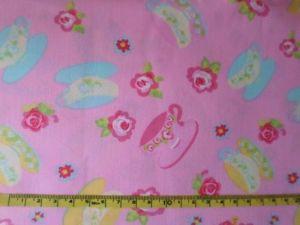 Málinka - růžová bavlna s kvítky a šálky