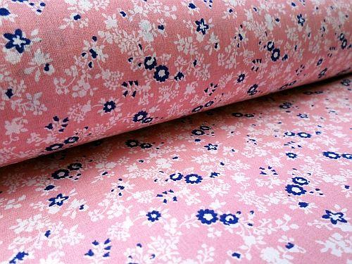 Gábina - růžovomodrobílá bavlna