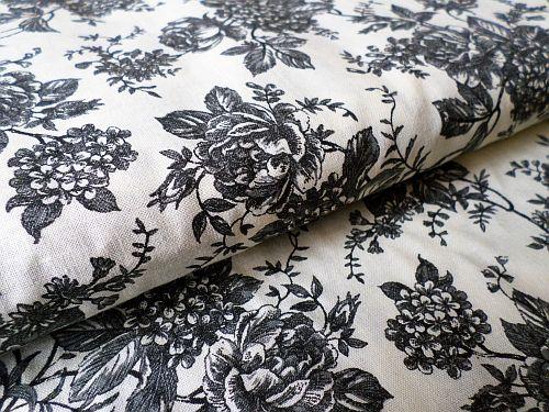 Grácie - smetanovošedá bavlna květ