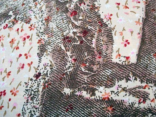 Lorinka - béžová kvítko s hnědým vzorem