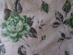Manila - béžovozelená bavlna s květy