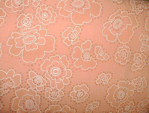 Polana - oranžová halenková látka s květy