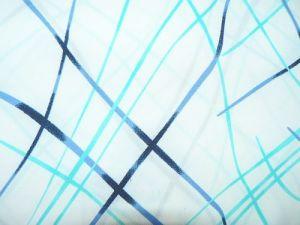 Rajka - bílá s tyrkysovomodrými pruhy