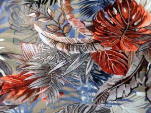 Botanika - hnědobéžovorezavý bavlněný úplet-digitální tisk