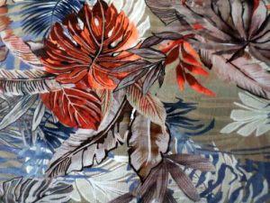Botanika - hnědobéžovorezavý bavlněný úplet
