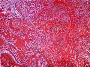 Brokát - červenostříbrný