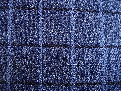 Buklé - tmavá modrá kostýmová látka s kostkou