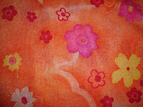 Isabela - oranžová elastická látka vzor