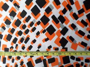 Lola - bílooranžovočerný úplet 145x145cm - kus