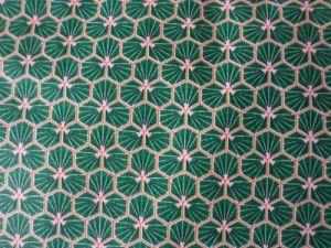 Zefi - zelená bavlna s bílým a zlatým tiskem