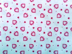 Daniella - bílá bavlna s růžovými srdíčky 80x75cm - kus