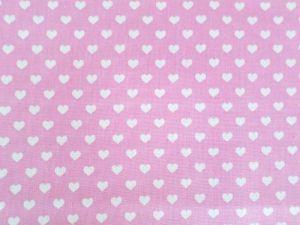 Grácie - růžová bavlna s bílými srdíčky