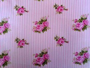 Renátka - růžová bavlna s květy a pruhy