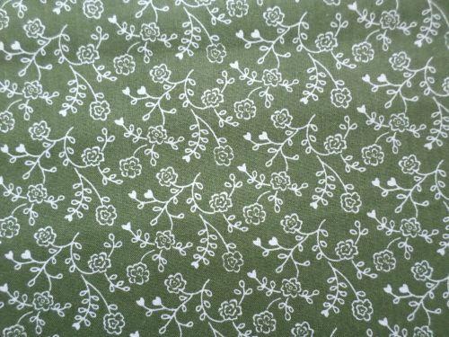 Zelenobílá bavlněná látka - plátno