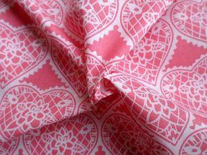 Růžová bavlna se srdíčky