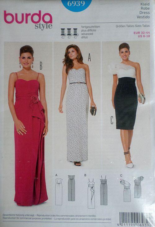 Střih BURDA - Dámské společenské šaty vel. 32-44