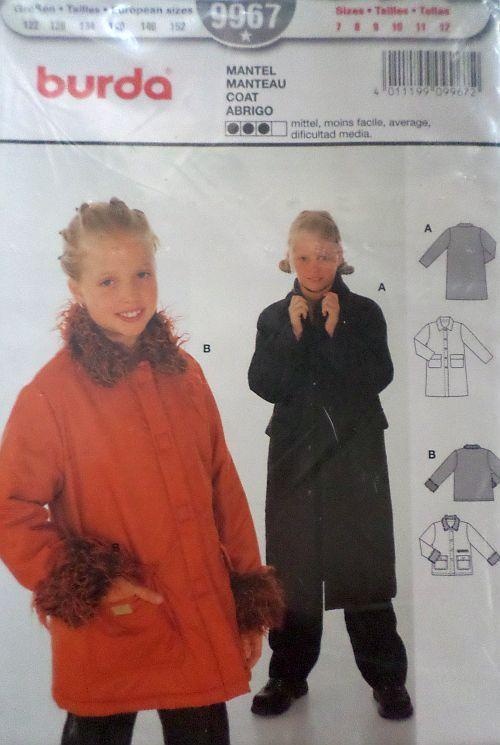Střih BURDA - Dívčí kabátek vel. 122-152