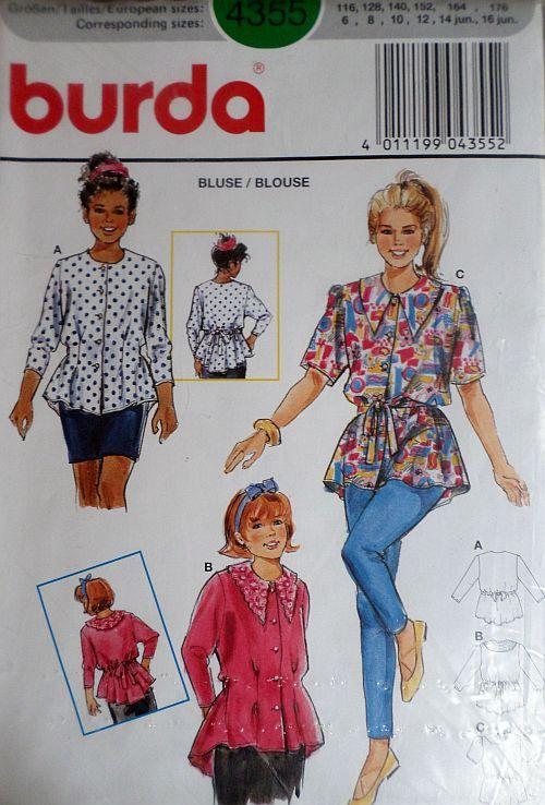 Střih BURDA - Dívčí košilová halenka vel. 116-176