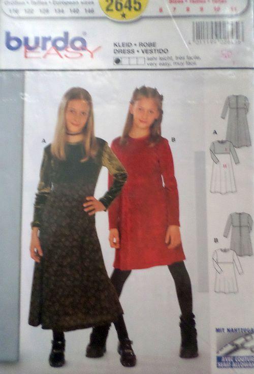 Střih BURDA - Dívčí šaty vel. 116-146