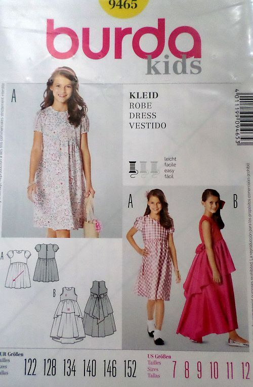Střih BURDA - Dívčí šaty vel. 122-152