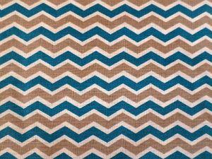 Vlnky - chevron modrobéžovobílá bavlna
