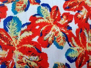 Čekanka - bílá bavlněná látka s oranžovými listy