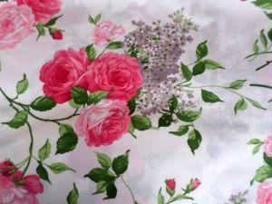 Damy - smetanová bavlna s růžovými květy