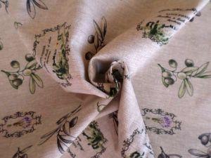 Režná bavlněná látka s olivami - detail