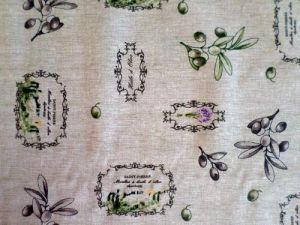 Olivy - dekorační režná bavlněná látka