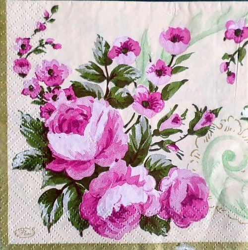 Růže - ubrousek 25x25cm