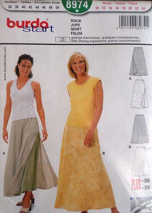 Střih BURDA - Dámská dlouhá sukně vel. 36-50