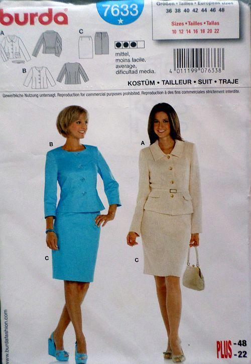 Střih BURDA - Dámský kostým sako a sukně vel. 36-48