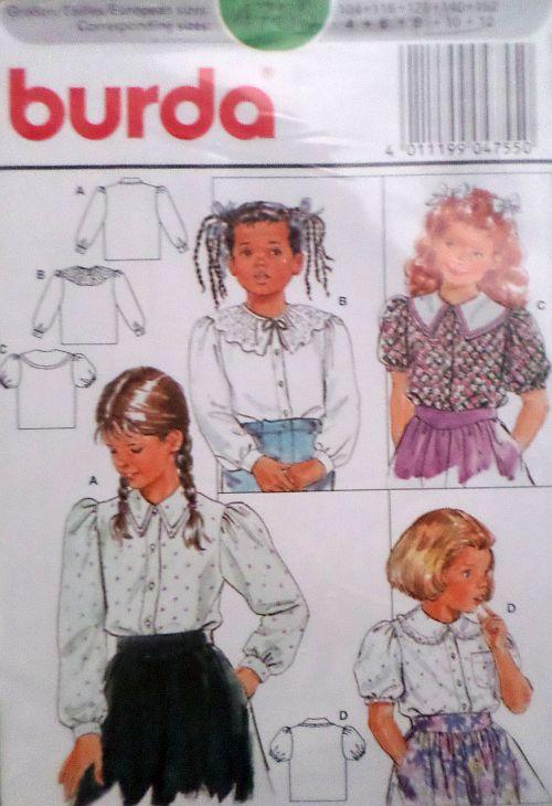 Střih BURDA - Dívčí košilová halenka vel. 104-152