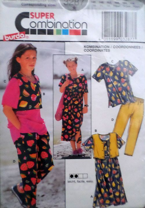 Střih BURDA - Dívčí šaty, tričko a kalhoty vel. 140-170