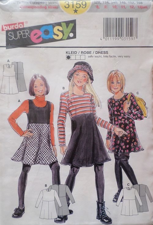 Střih BURDA - Dívčí šaty vel. 128-158