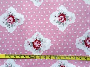 Bavlna růžová s puntíky a květy
