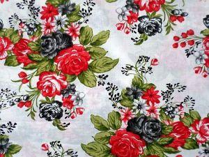 Bavlna smetanová s květy