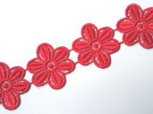 Krajka vzdušná květ červený šíře 4,80 cm