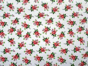 Plátno bavlna potištěné vzor červený květ