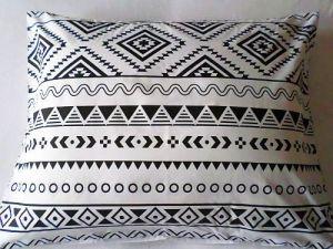 Povlak polštář 70x90 cm - bíločerný vzor