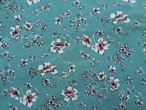 Modalový úplet - zelenomodrý s kvítky