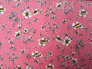 Modalový úplet s květy - růžový